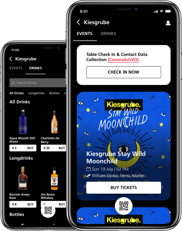 Grid App: Events and Drinks screen