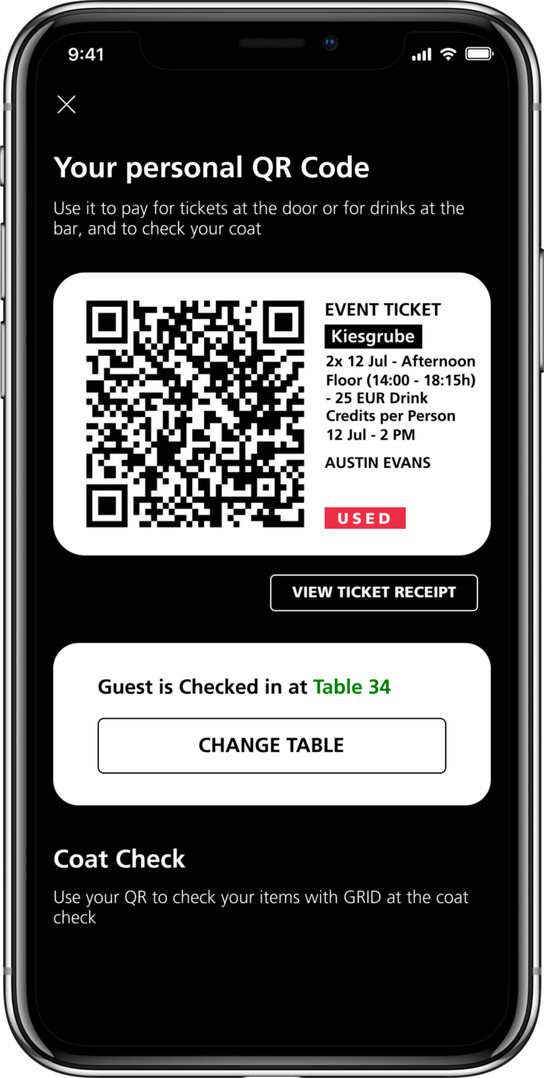 QR code screen with ticket