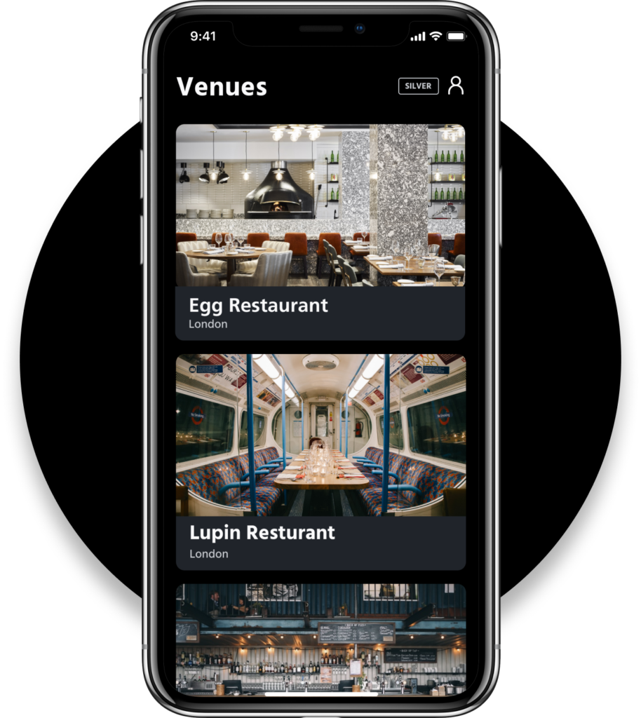 Grid App for Restaurants: Venues overview