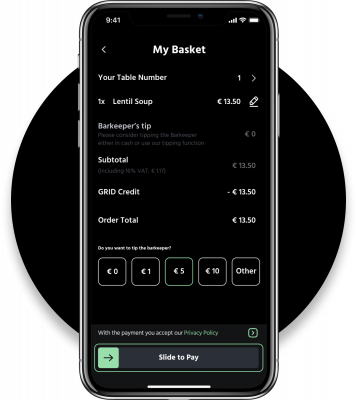Grid App: My Basket and Slide-to-Pay
