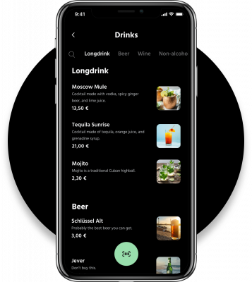 Grid App for Clubs: Menu and Drinks overview